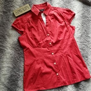 NWT Banana Republic Red Fitted Top